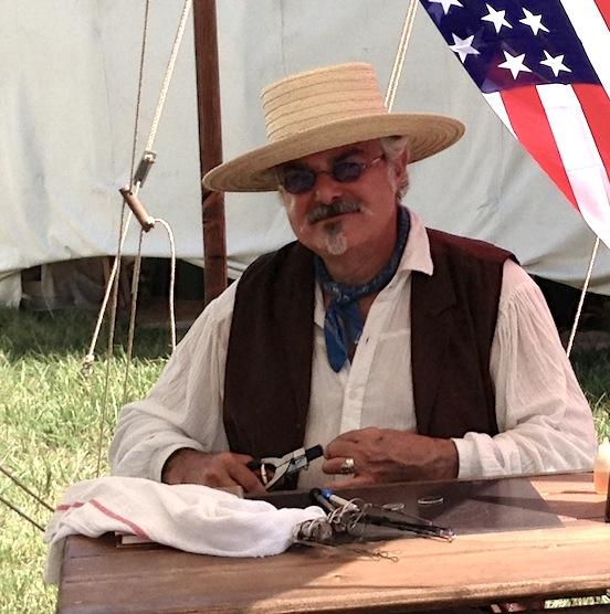 Thomas Valenza reading specs at 149th Cedar Creek Battle Reenactment<br>October 2013