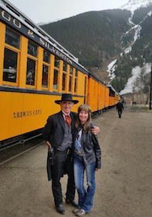 Alan Sabo, Durango, CO.<br>The character represented is Robert Dwyer, the first elected Sheriff of LaPlata County, in 1877, and the first Marshall of Durango, CO, in 1881.The Dwyer character is a historian narrator, pictured with his main squeeze,  on the Durango & Silverton Narrow Gage Railroad which runs daily, 31/2 hr trips thru the San Juan mountains.  Check out Durango train.com