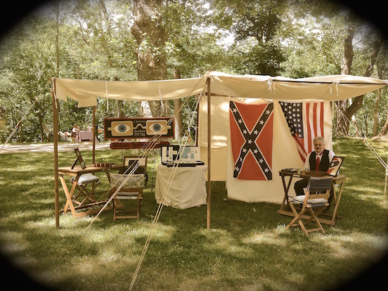 Thomas Valenza, under the Historic EyeWear Company suttlers tent<br>At the N.J.Civil War Heritage Association Encampment, Allaire State Park, May 2015
