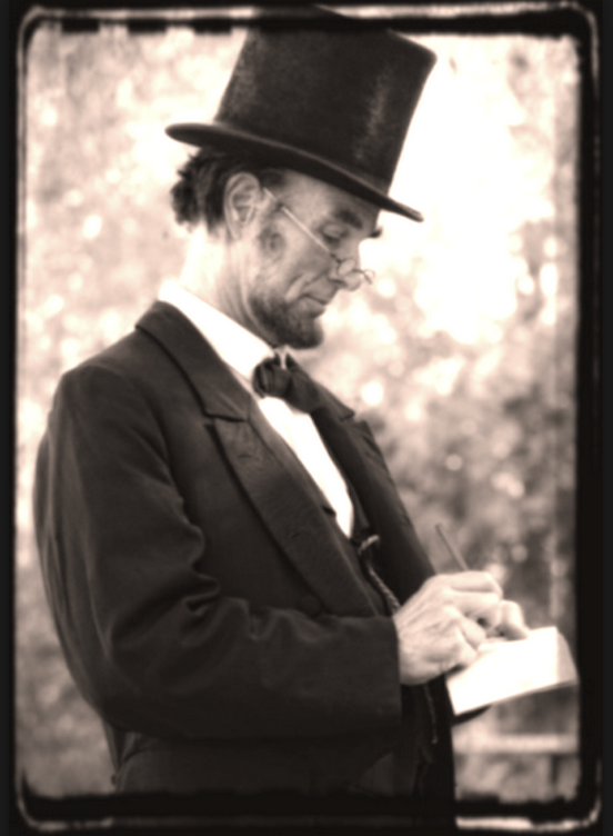 President Lincoln as portrayed by actor Fritz Klein<br>Fritz Klein portrays President Lincoln-