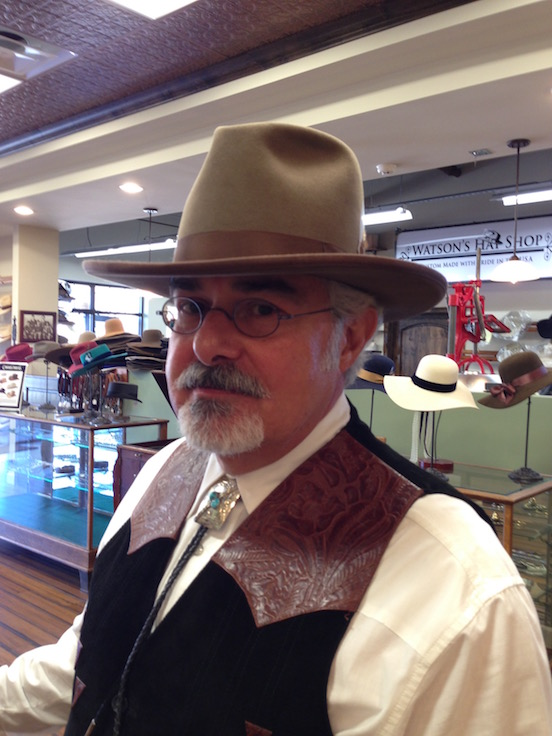 Thomas Valenza<br>At Watson`s Hat Shop in Cave Creek, Arizona wearing his 1855-95 Blue Steel Oval Lg and his new hat. Great hat shop!