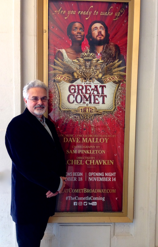 Thomas Valenza wearing the Blued Steel Oval Large<br>Attending the Broadway show: The Great Comet of 1812 staring Josh Groban