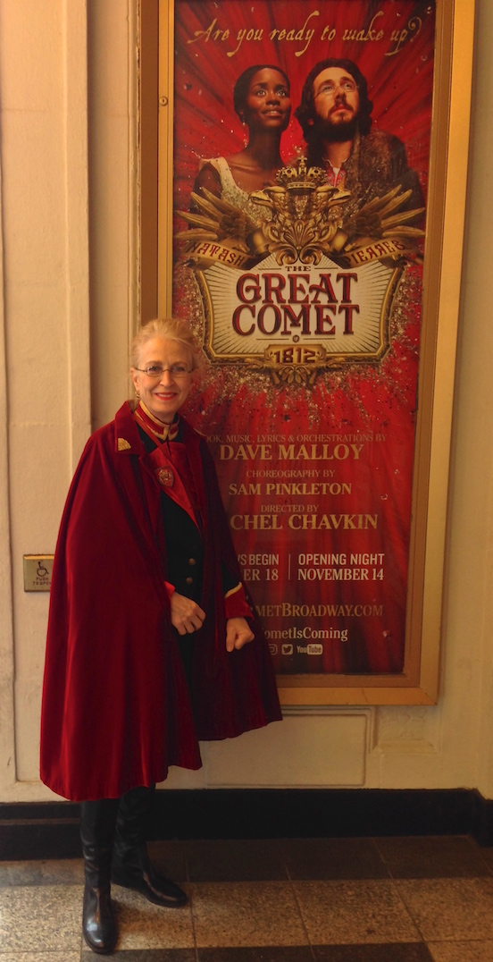 Doreen Valenza wearing the 1835-80 Oblong in Leadville Tarnished Silver<br>Attending the Broadway show: The Great Comet of 1812
