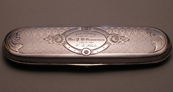 Elaborate, Museum quality  1800`s silver spectacle case. Private colllection <br>